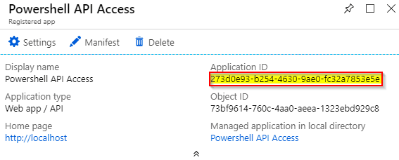 Image of how to get the application id from azure ad
