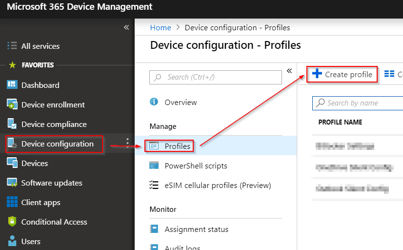 create new intune policy