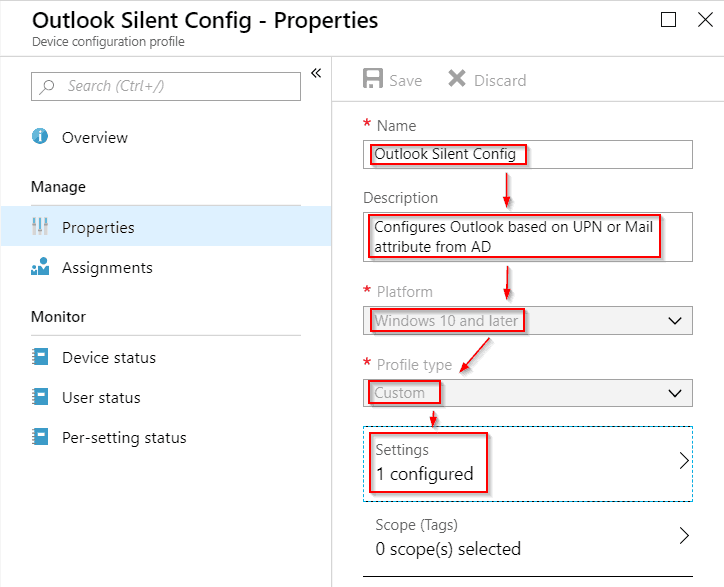 intune device configuration profile blade